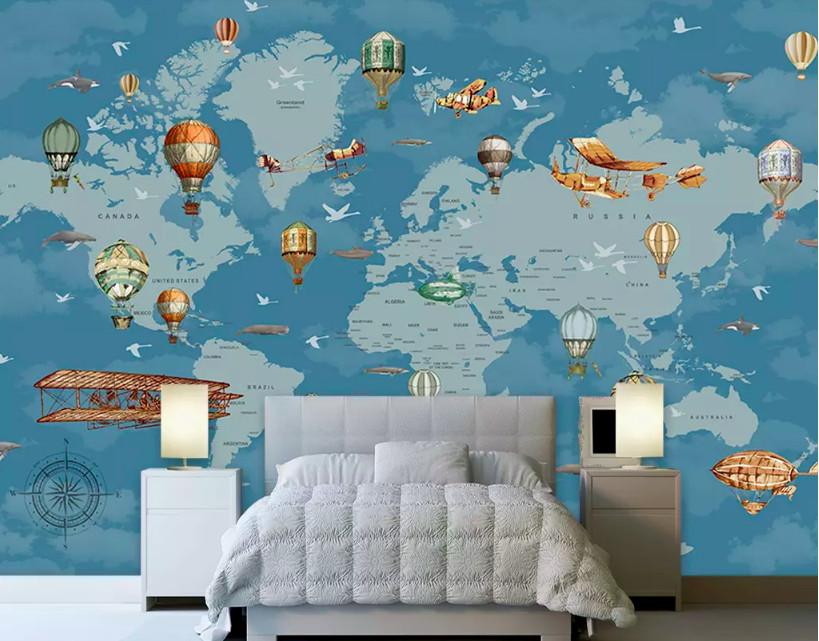 Decal dán tường hình bản đồ thế giới trang trí phòng bé yêu (3)