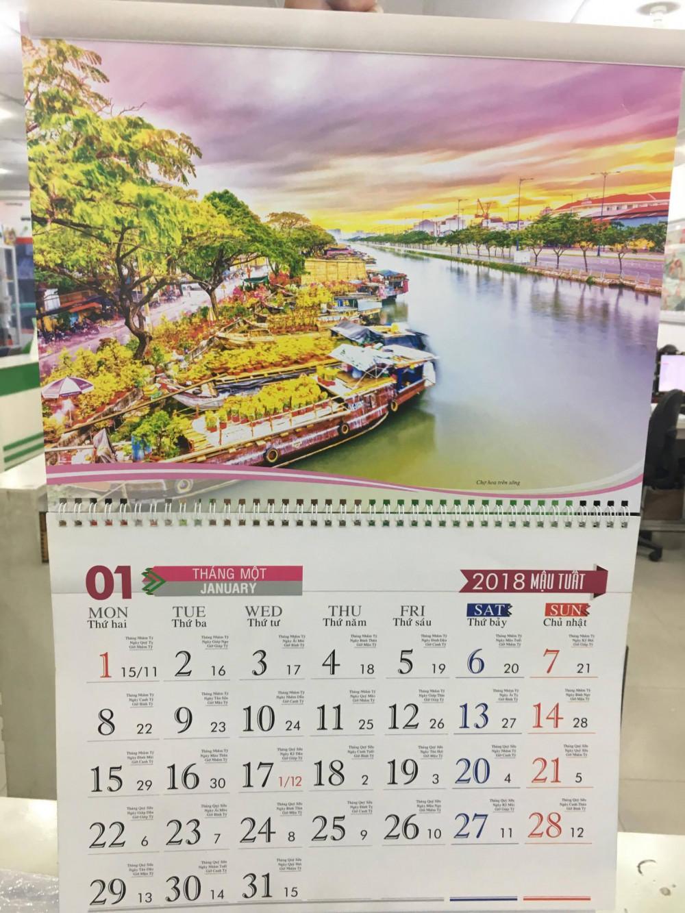 Mẫu lịch Tết - mẫu lịch lò xo