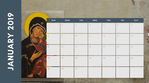 Mẫu in lịch để bàn Công giáo - In lich Công giáo TPHCM - Tháng 1