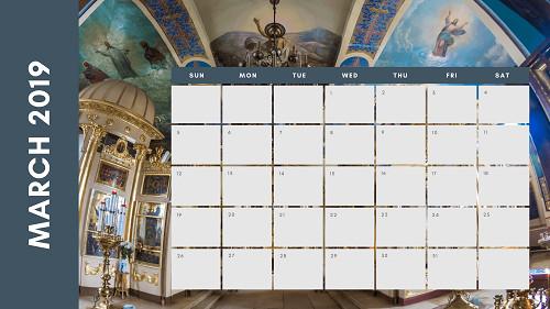 Mẫu in lịch để bàn Công giáo - In lich Công giáo TPHCM - Tháng 3