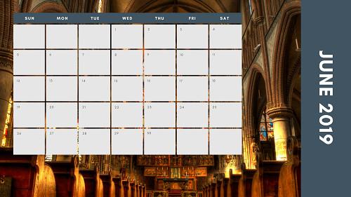 Mẫu in lịch để bàn Công giáo - In lich Công giáo TPHCM - Tháng 6