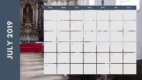 Mẫu in lịch để bàn Công giáo - In lich Công giáo TPHCM - Tháng 7