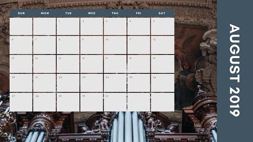 Mẫu in lịch để bàn Công giáo - In lich Công giáo TPHCM - Tháng 8