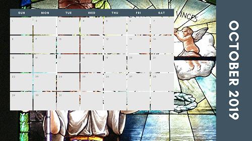 Mẫu in lịch để bàn Công giáo - In lich Công giáo TPHCM - Tháng 10