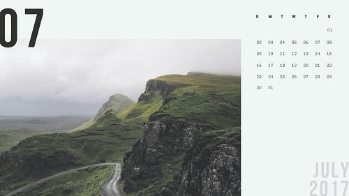 Mẫu lịch để bàn hiện đại - tháng 7