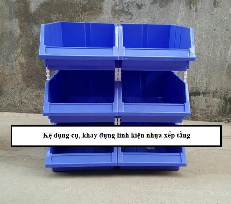 Kệ dụng cụ, khay đựng linh kiện nhựa xếp tầng