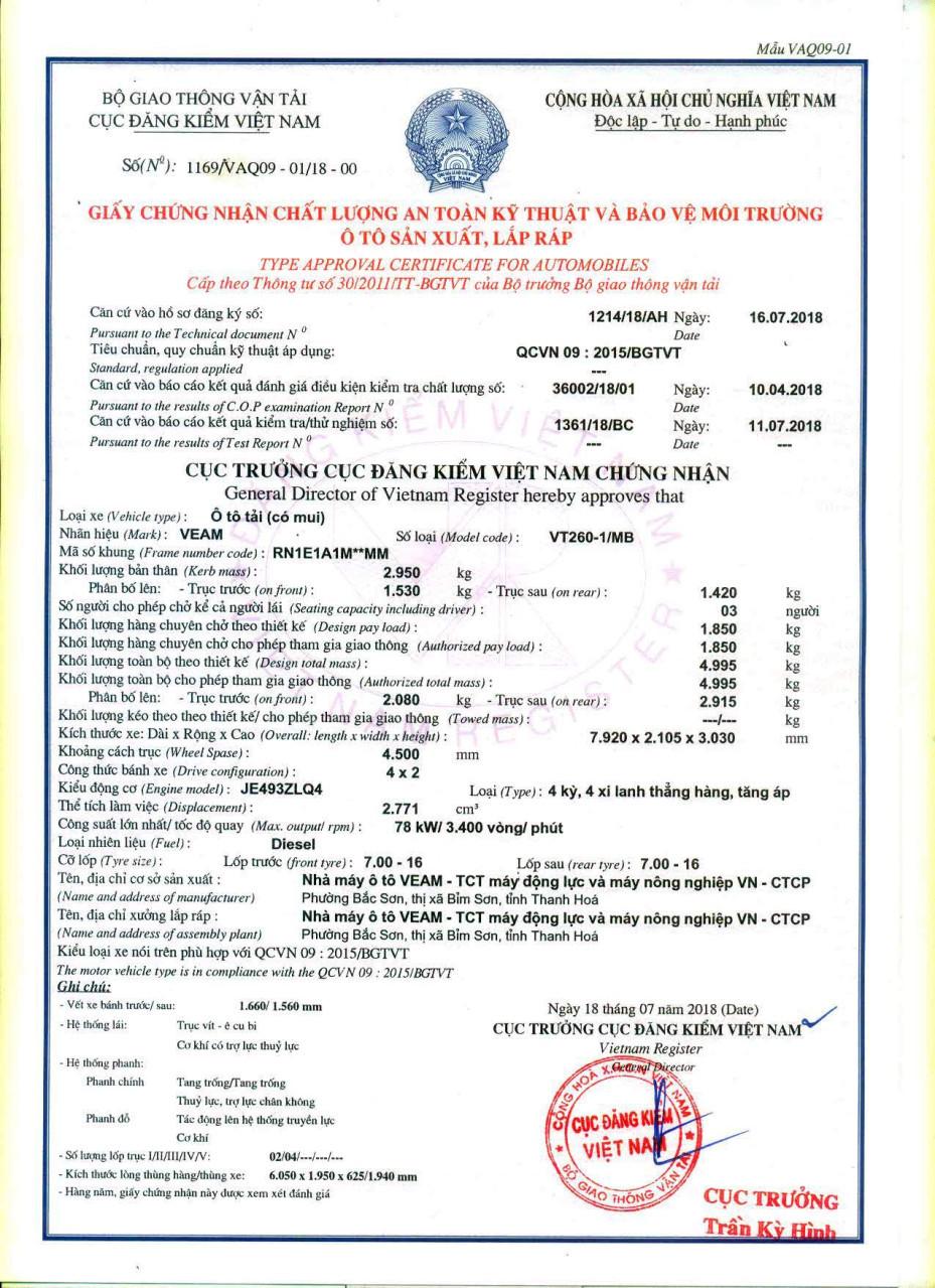 Báo giá Xe tải Veam VT260 20181 tấn 9 vào thành phố
