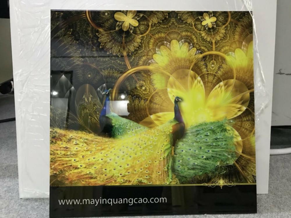 Bức tranh công 3D vàng rực - không cần đèn nền vẫn làm ráng rực không gian phòng khách gia đình - họa tiết 3D chìm tại phần nền của bức tranh là điều mà tranh in hoặc tranh vẽ không thể chuyển tải hết được