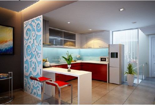 Chung cư The Goldview - vách ngăn cnc trang trí phòng khách và bếp