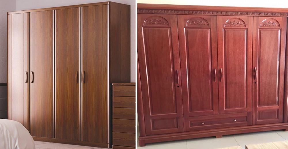Mẫu tủ quần áo gỗ tự nhiên 4 cánh đẹp