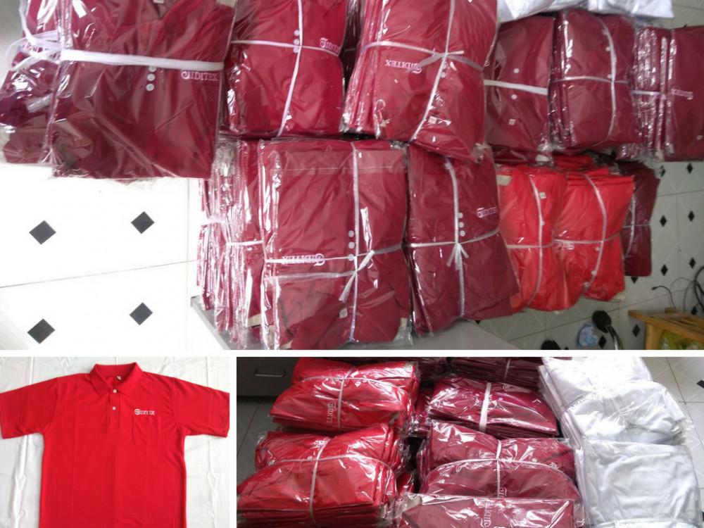 Thành phẩm may áo thun đồng phục được đóng gói hoàn thiện - chờ giao khách tại Xưởng may Trang Trần