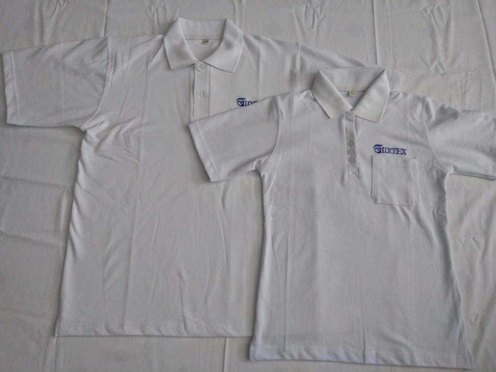 Mẫu áo thun đồng phục trắng - logo xanh nước biển - công ty may áo thun Trang Trần