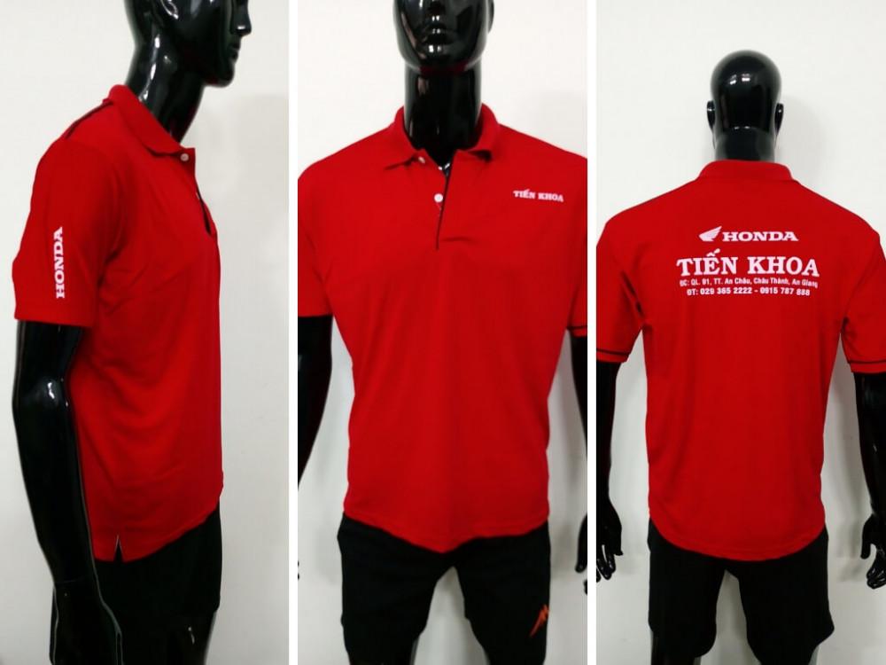 Mẫu áo thun cá sấu màu đỏ - Xưởng may áo thun bỏ sỉ 1