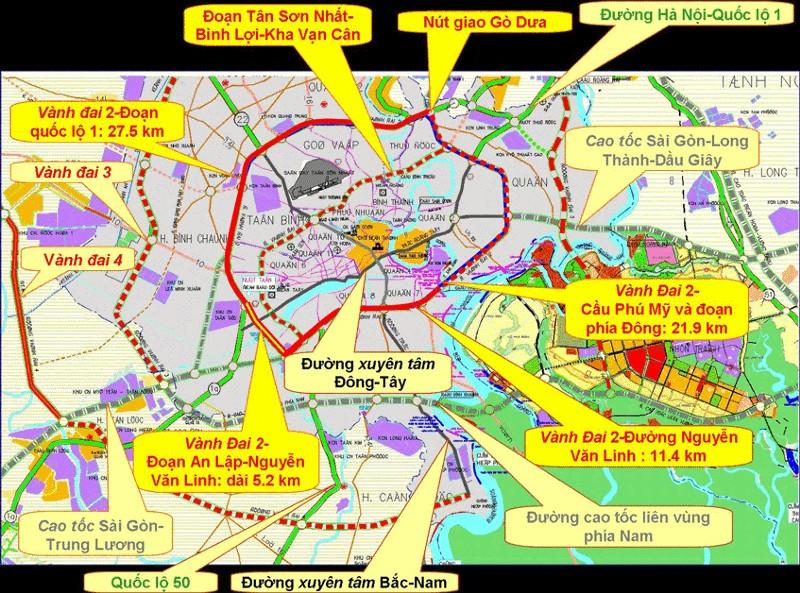 Hệ thống đường giao thông kết nối của TPHCM và các vùng phụ cần như Long An—Bình Dương—Đồng Nai với tầm nhìn đến năm 2020
