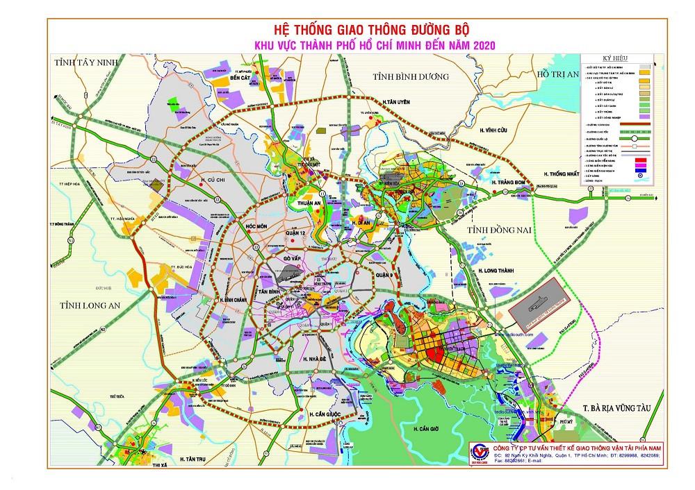 Bản đồ hệ thống giao thông đường bộ TPHCM đến năm 2020
