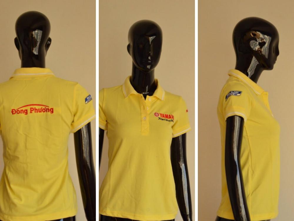 Mẫu áo thun cá sấu màu vàng - May áo thun đồng phục cao cấp cho nữ