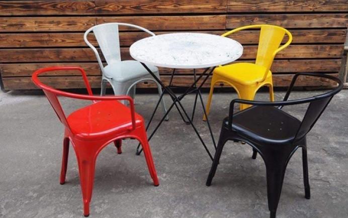 Bàn ghế cafe ngoài trời sắt mỹ thuật sơn tĩnh điện, bàn ghê bê tông