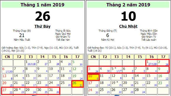 lịch nghỉ tết 2019 của học sinh
