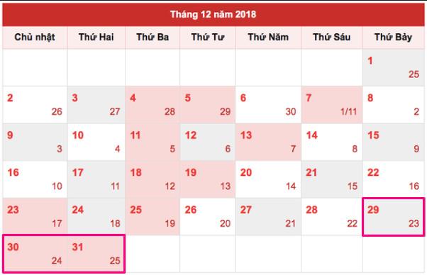 Lịch nghỉ Tết dương lịch 2019 của học sinh