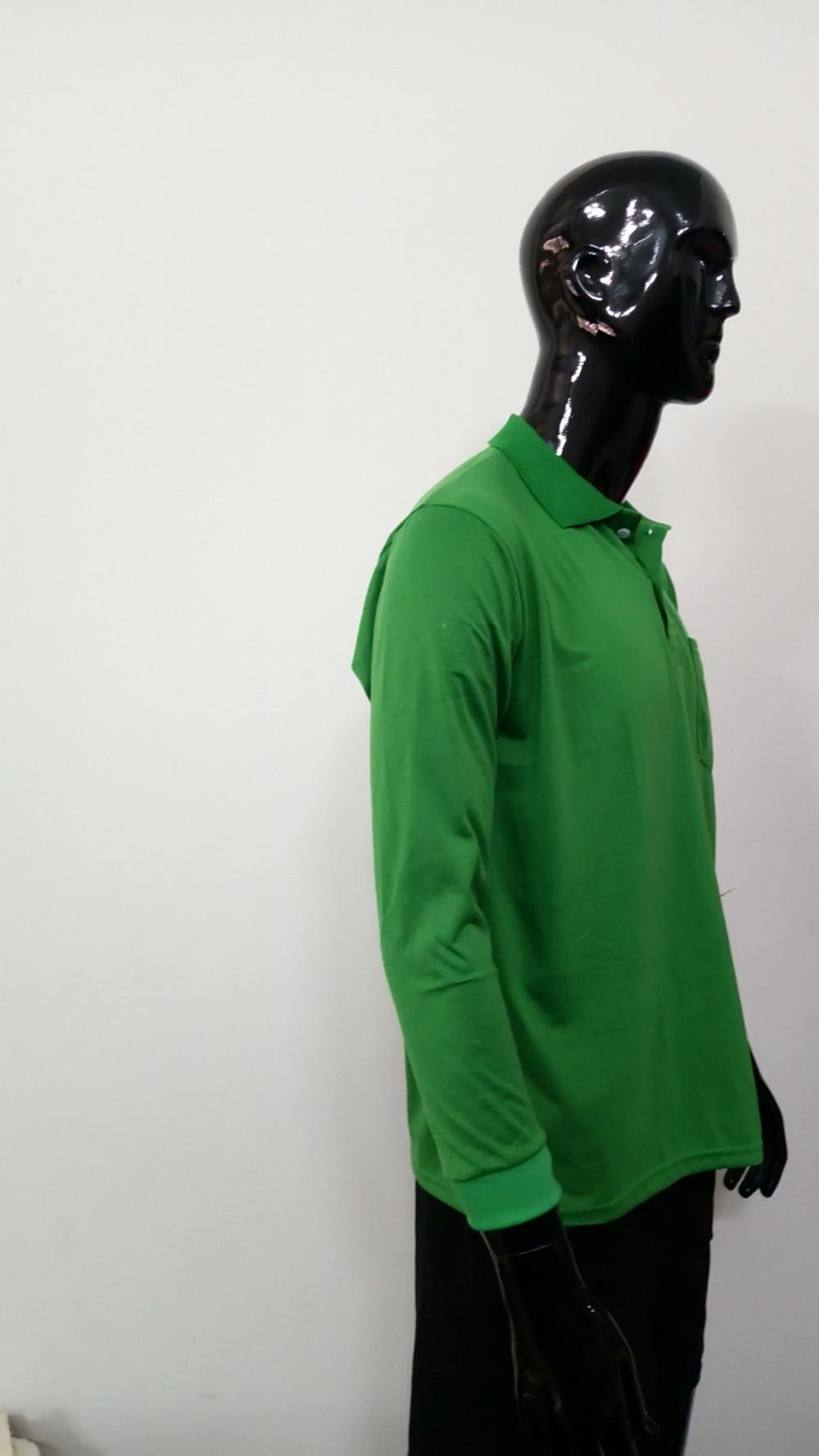 Mẫu áo thun cá sấu màu xanh lá cây - tay dài, cổ bẻ cho nam (3)
