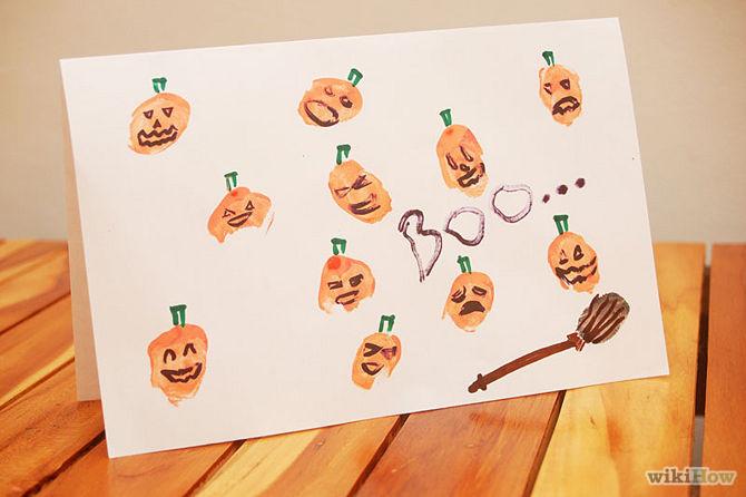 Tự tay làm thiệp mời Halloween đơn giản, độc đáo bằng vân tay 5