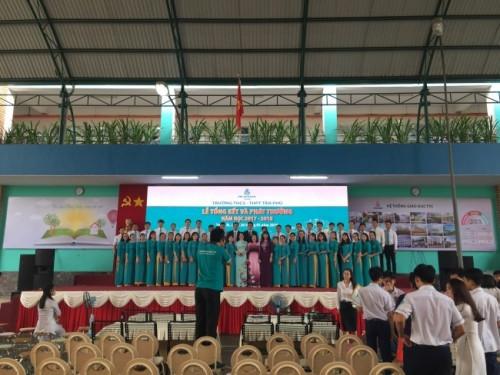 Cho thuê màn hình Led P4 - màn hình Led sân khấu lễ tổng kết Trường THCS - THPT Tân Phú - lắp đặt và vận hành từ Màn hình Led Âu Lạc (Alta Media)