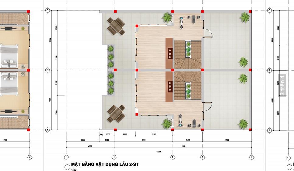 Bản vẽ thiết kế lầu 2