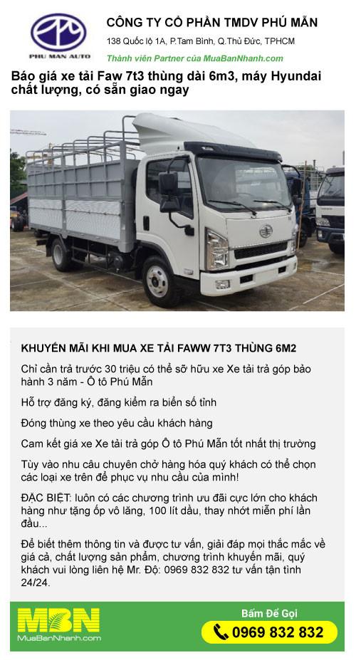 Đại lý xe tải Faw 7t3