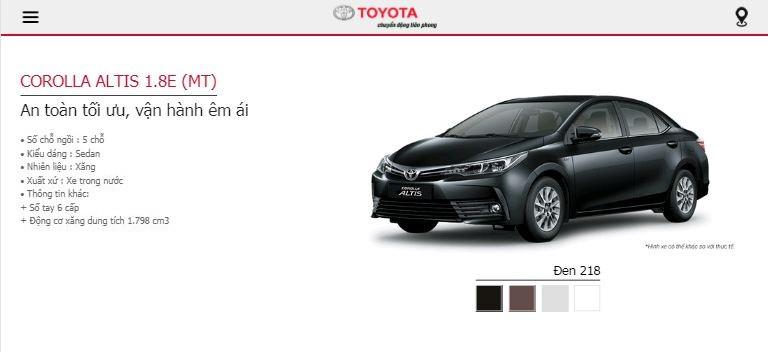 Giá lăn bánh Toyota Altis 2019 tại TPHCM - phiên bản 1.8E MT