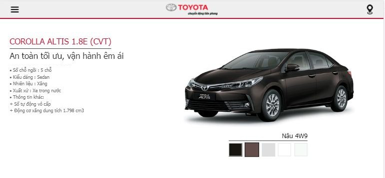 Giá lăn bánh Toyota Altis 2019 tại TPHCM - phiên bản 1.8E CVT