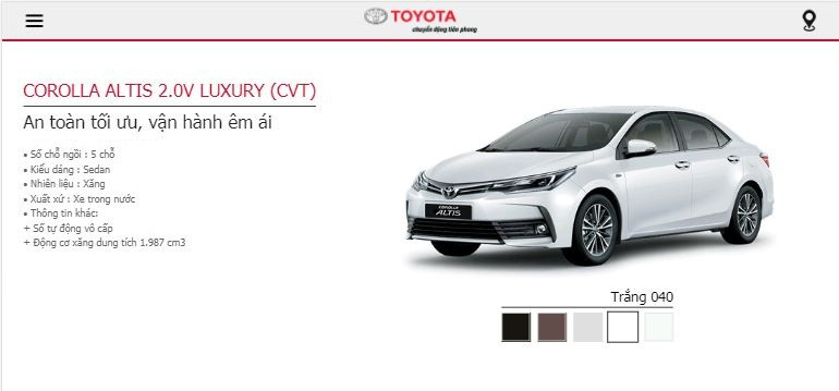 Giá lăn bánh Toyota Altis 2019 tại TPHCM - phiên bản 2.0V Luxury