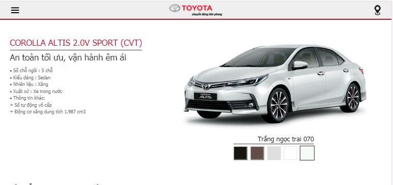 Giá lăn bánh Toyota Altis 2019 tại TPHCM - phiên bản Altis 2.0V Sport