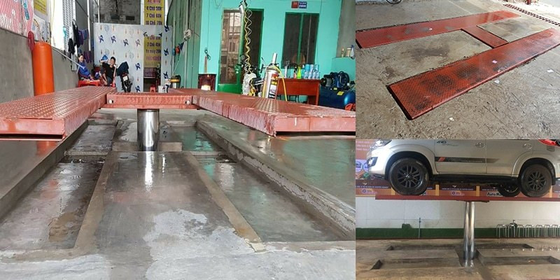 Chi phí đầu tư tiệm rửa xe bằng cầu nâng 1 trụ - cầu nâng rửa xe