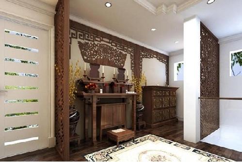 Tư vấn chọn mua vách ngăn phòng thờ - Mẫu vách gỗ cnc với chung cư