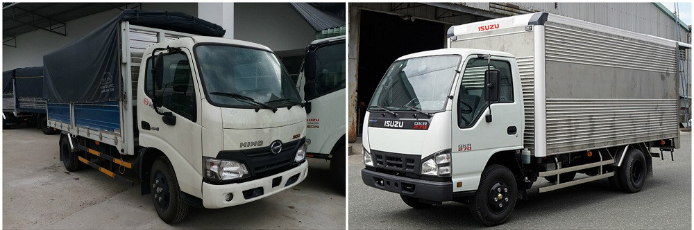 So sánh xe tải Isuzu 1.9 tấn và xe tải Hino 1.9 tấn