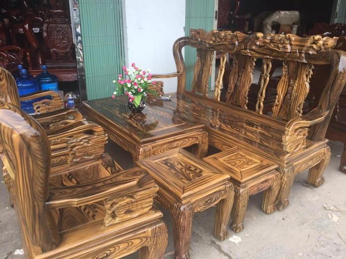 Mẫu bàn ghế gỗ phòng khách Minh Quốc tràm PU giả mun(1)