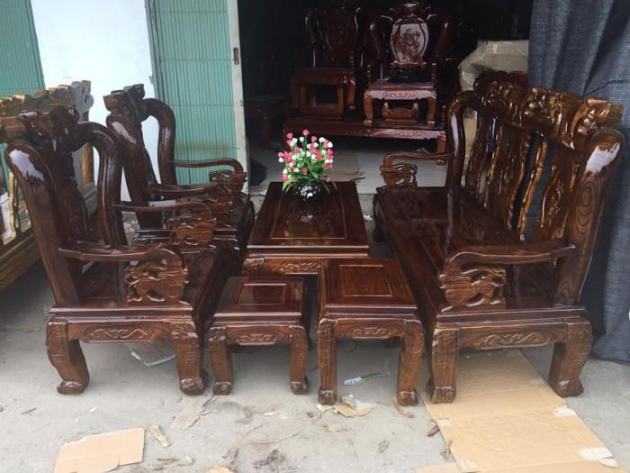 Mẫu bàn ghế gỗ phòng khách Minh Quốc tràm PU giả mun(3)