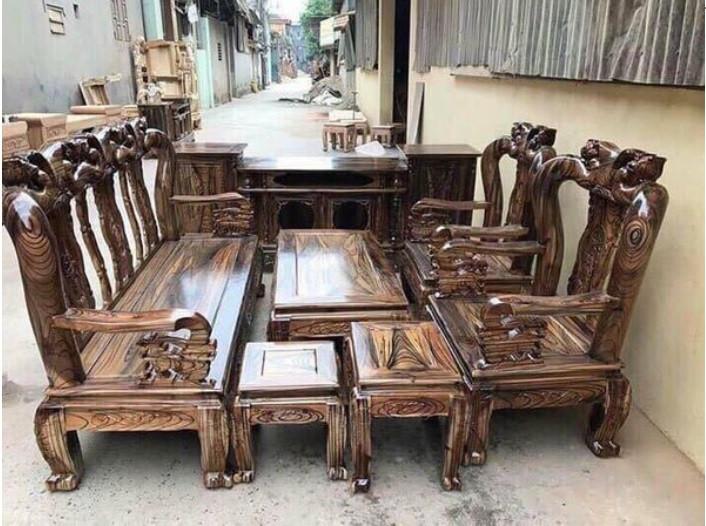 Mẫu bàn ghế gỗ phòng khách Minh Quốc tràm PU giả mun(2)