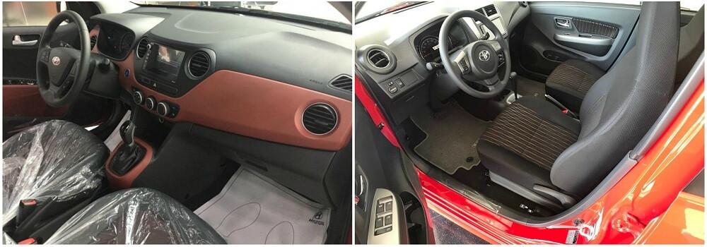 So sánh Toyota Wigo và Hyundai Grand i10 về nội thất