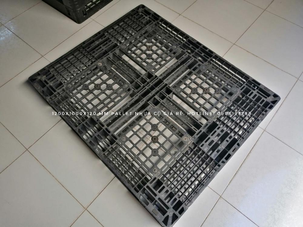 kích thước pallet nhựa cũ 1200x1000x120mm màu đen - 5