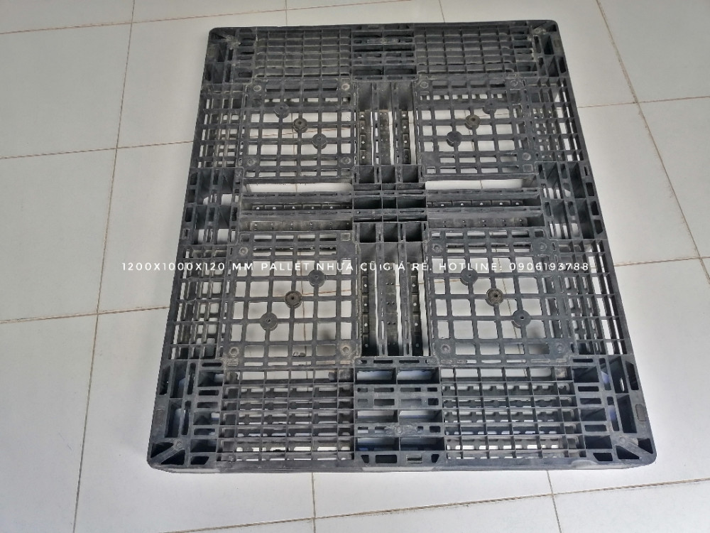 kích thước pallet nhựa cũ 1200x1000x120mm màu đen - 6