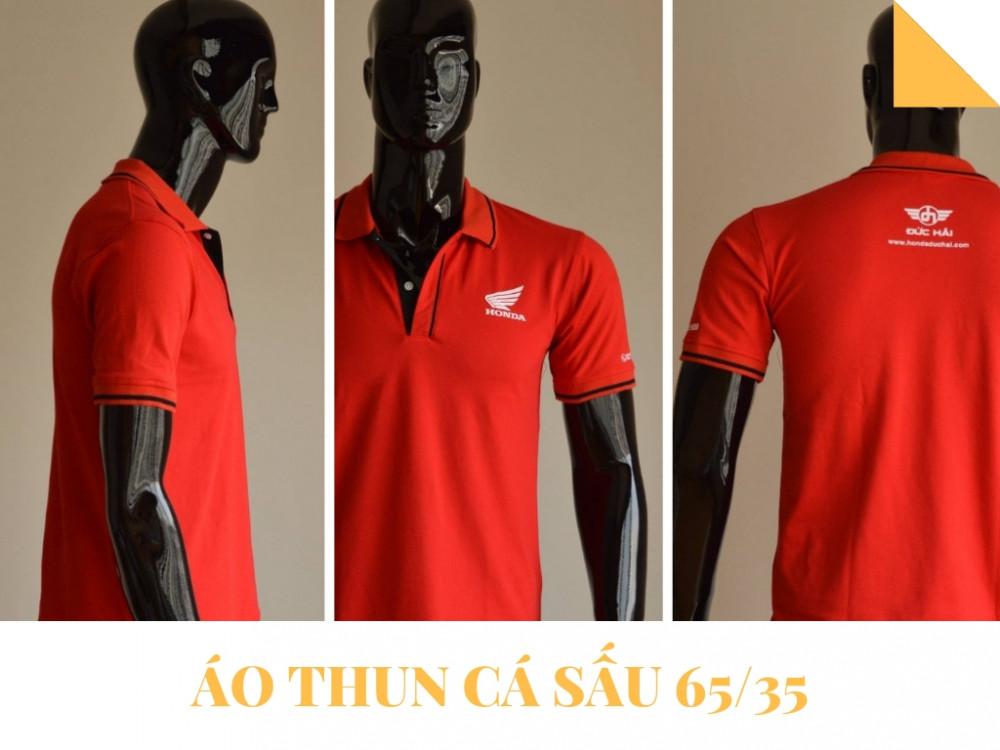 Mẫu áo thun đồng phục công ty màu đỏ - Áo thun cá sấu 65/35