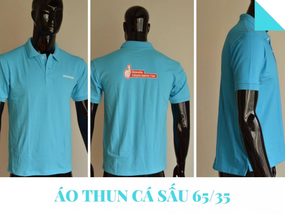 Mẫu áo thun đồng phục công ty màu xanh - Áo thun cá sấu 65/35