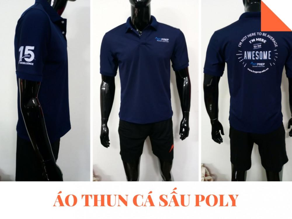 Mẫu áo thun đồng phục công ty màu xanh nước biển đậm - Áo thun cá sấu Poly