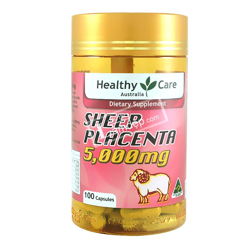 Giới thiệu viên uống nhau thai cừu Healthy Care Sheep Placenta ( 5000mg x 100 viên)