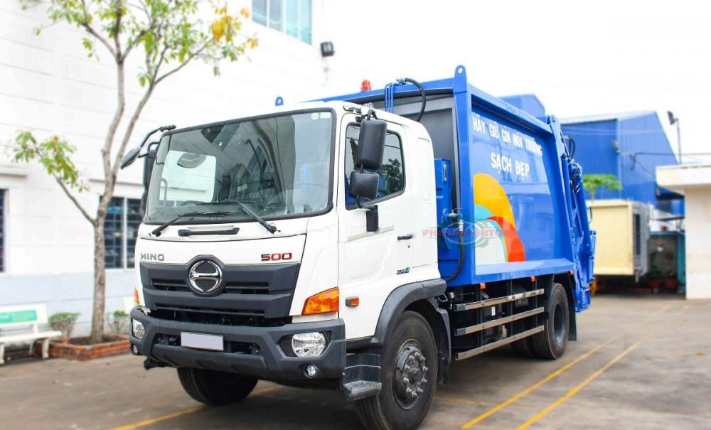 Xe ép cuốn ép rác 15 khối Hino FG8JJ7A - xe ép rác euro 4, 15 khối ga điện giá rẻ