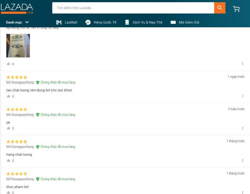 Feedback khách hàng sản phẩm tảo trên kênh thương mại điện tử Lazada.