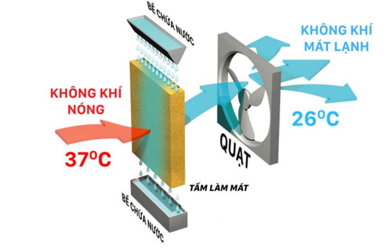 Máy làm mát công nghiệp sử dụng tấm làm mát cooling pad