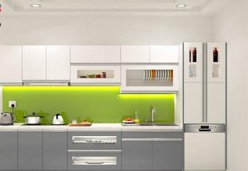 Mẫu tủ bếp Acrylic chữ I hiện đại