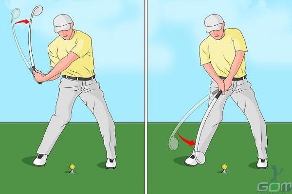 Khi impact phải đảm bảo cán gậy nghiêng so với mục tiêu